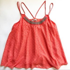 Maurices Neon Coral Textured Fabric Beaded Tank